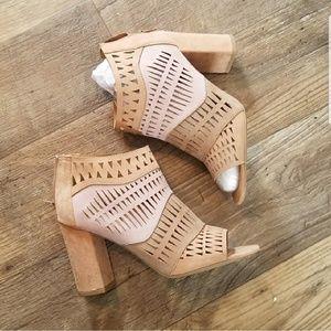 NEW Qupid Blush Suede Laser Cut Block Heels